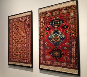 """Hollow"" (L, 2011) and ""Pixelate Tradition"" (R, 2010), Faig Ahmed. V&A."