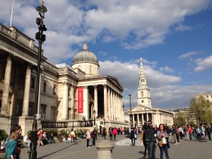 National Gallery and Trafalgar Square, London.